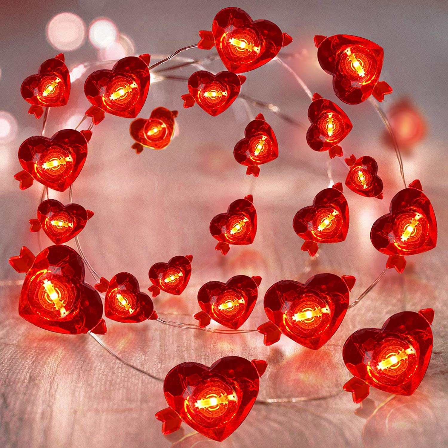 TURNMEON 10Ft 40Led Valentines Heart Lights Decorations Red Fairy String Lights Battery Operated Copper Wire Bedroom Wedding Valentines Day Decorations Indoor Outdoor Home Party Favors Supplies(Heart)