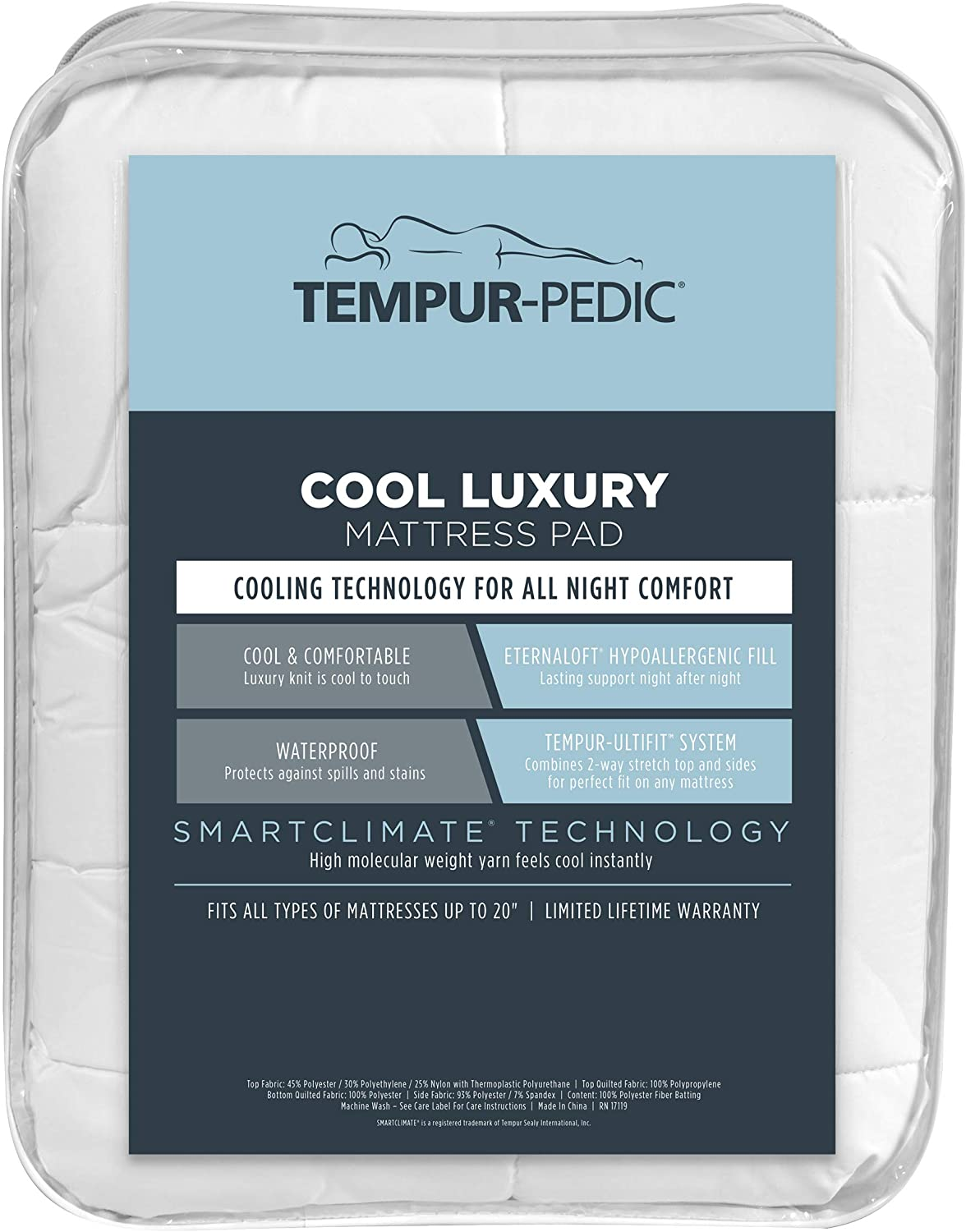 Tempur-Pedic Performance Luxury Fitted Mattress Pad – Cool, Comfortable and Hypoallergenic Protection Against Spills and Stains – Machine Washable, California King, White