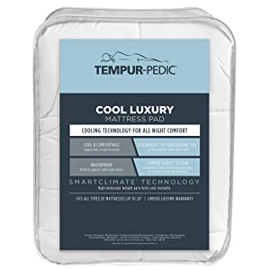 Tempur-Pedic Performance Luxury Fitted Mattress Pad – Cool, Comfortable and Hypoallergenic Protection Against Spills and Stains – Machine Washable, Queen, White