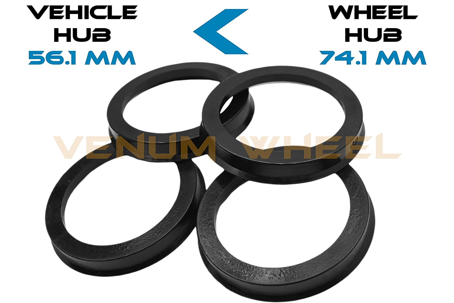 4 Hub Centric Rings 56.1 ID To 74.1 OD Black Polycarbonate Material ( Vehicle 56.1mm to Wheel 74.1mm) VENUM WHEEL ACCESSORIES
