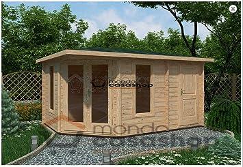 Mondocasette Casa Casa de Madera de jardín - Modelo Capri Grosor Paredes 45 mm 440 x 300 cm, ripostiglio legnaia Box: Amazon.es: Jardín