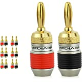 Mediabridge Banana Plugs - Corrosion-Resistant 24K Gold-Plated Connectors - 6 Pair/12 Banana Plugs (Part# SPC-BP2-6 )