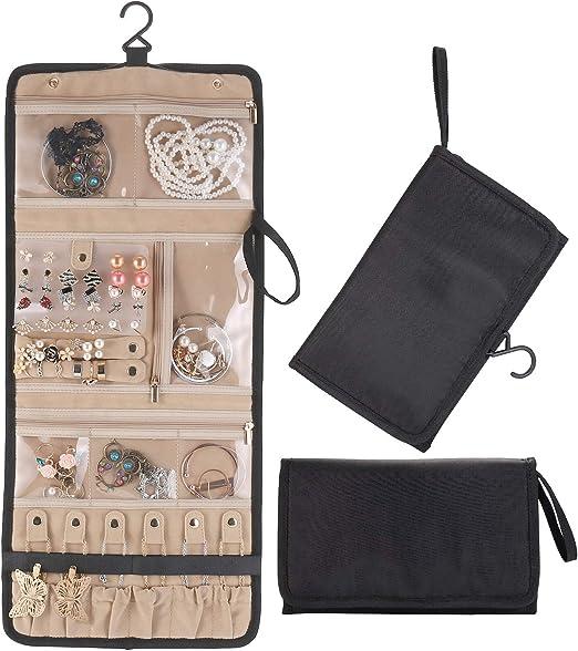 para Viajes Joyas 14 Bolsillos de algod/ón con Cremallera Plegable MISSLO Almacenamiento Enrollable Organizador de Joyas para Colgar