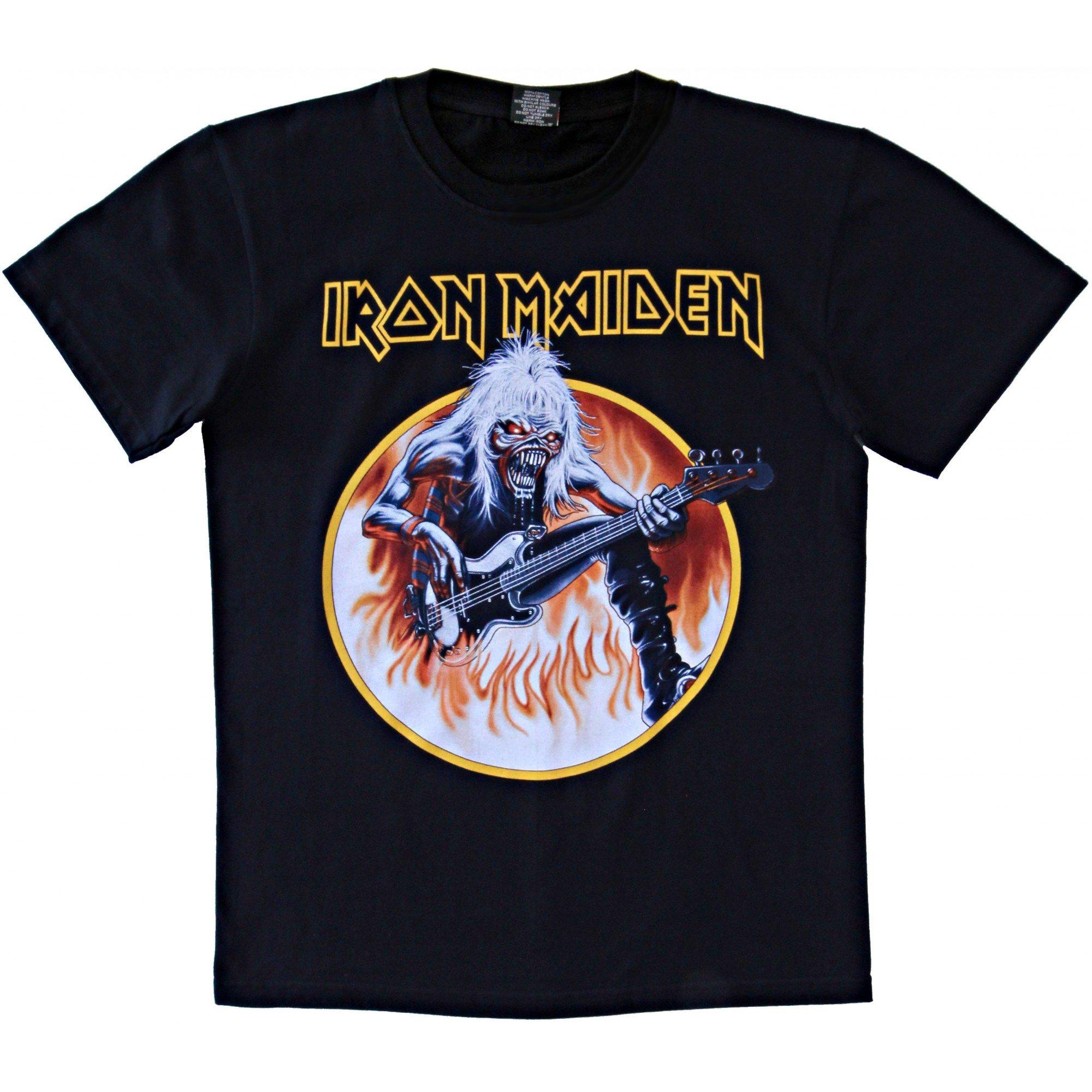 Rockyeah Iron Maiden R Live Flames T Shirt