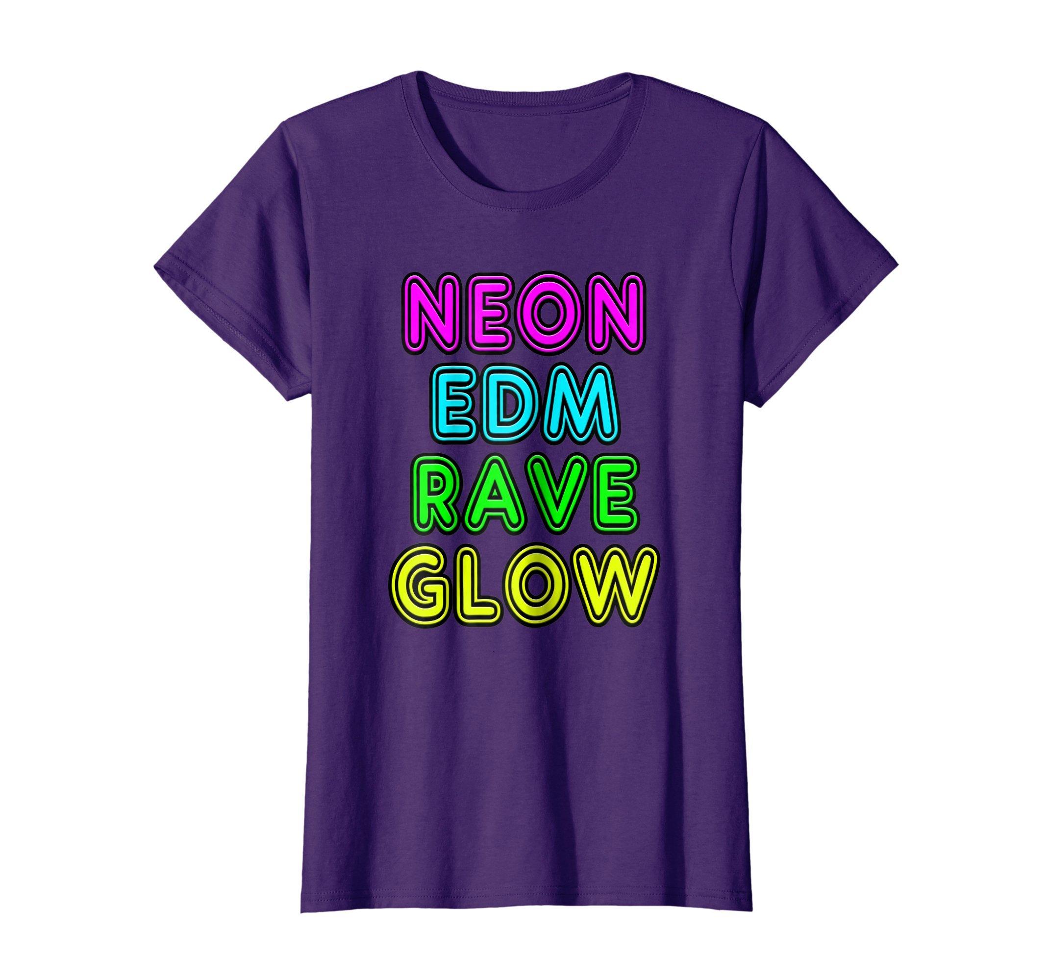 Womens Neon Sign Style NEON EDM RAVE GLOW Gift T-Shirt XL Purple