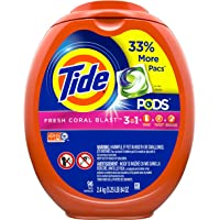 Deals on 96-Count Tide Pods Liquid Detergent Pacs Fresh Coral Blast