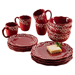 American Atelier 1562952-RB Holiday Round Dinnerware Set – 16-Piece Ceramic Party Collection w/ 4 Dinner Salad Plates, 4 Bowls & 4 Mugs –Gift Idea for Special Occasions, Red, Bianca Mistletoe