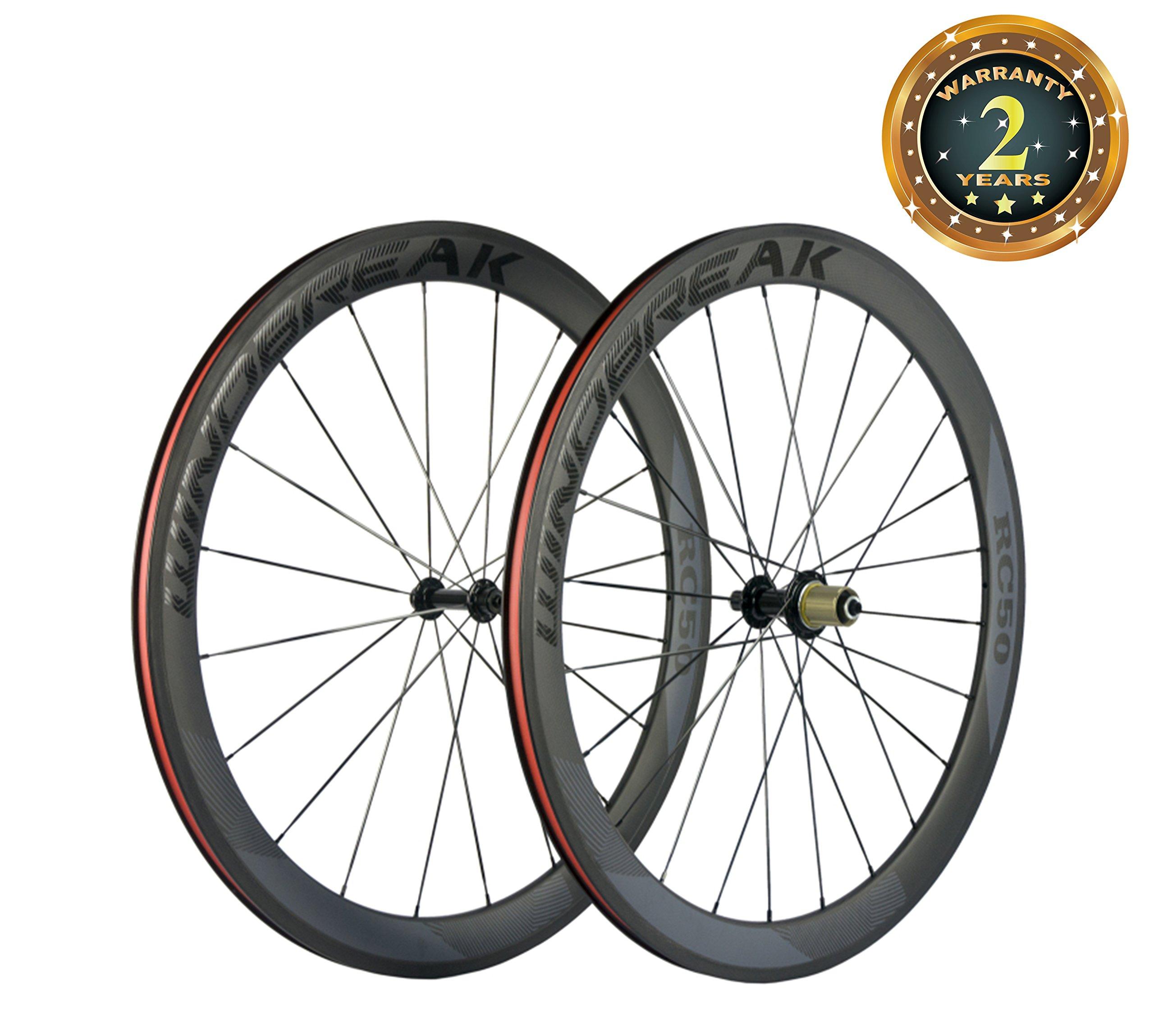 Sunrise Bike Carbon Road Wheels 700C 50mm Clincher Wheelset 3k Matte Finish with Decal