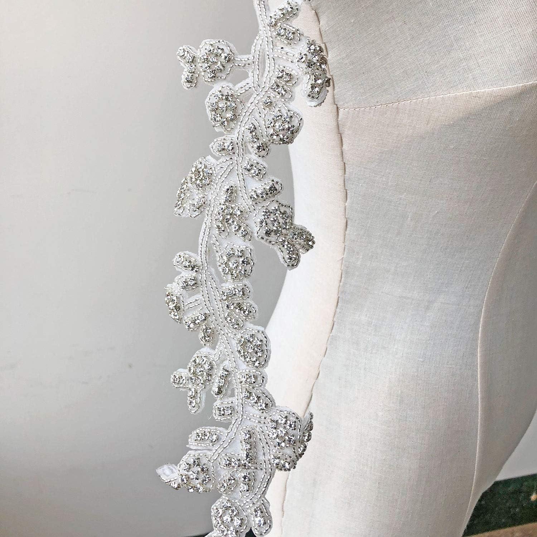 1 Yard Shimmer Strip Rhinestone Crystal Trims Applique Bridal Rhinestone Appliques Motif Accent For Wedding Sash Belt Bridal Dress Straps Beaded Trim Hazelsdiner Arts Crafts Sewing