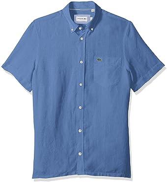720349473 Lacoste Men s Short Sleeve Solid Linen Button Down Collar Reg Fit Woven  Shirt