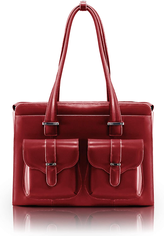 "McKlein, W Series, Alexis, Top Grain Cowhide Leather, 14"" Leather Ladies' Laptop Briefcase, Red (96546)"