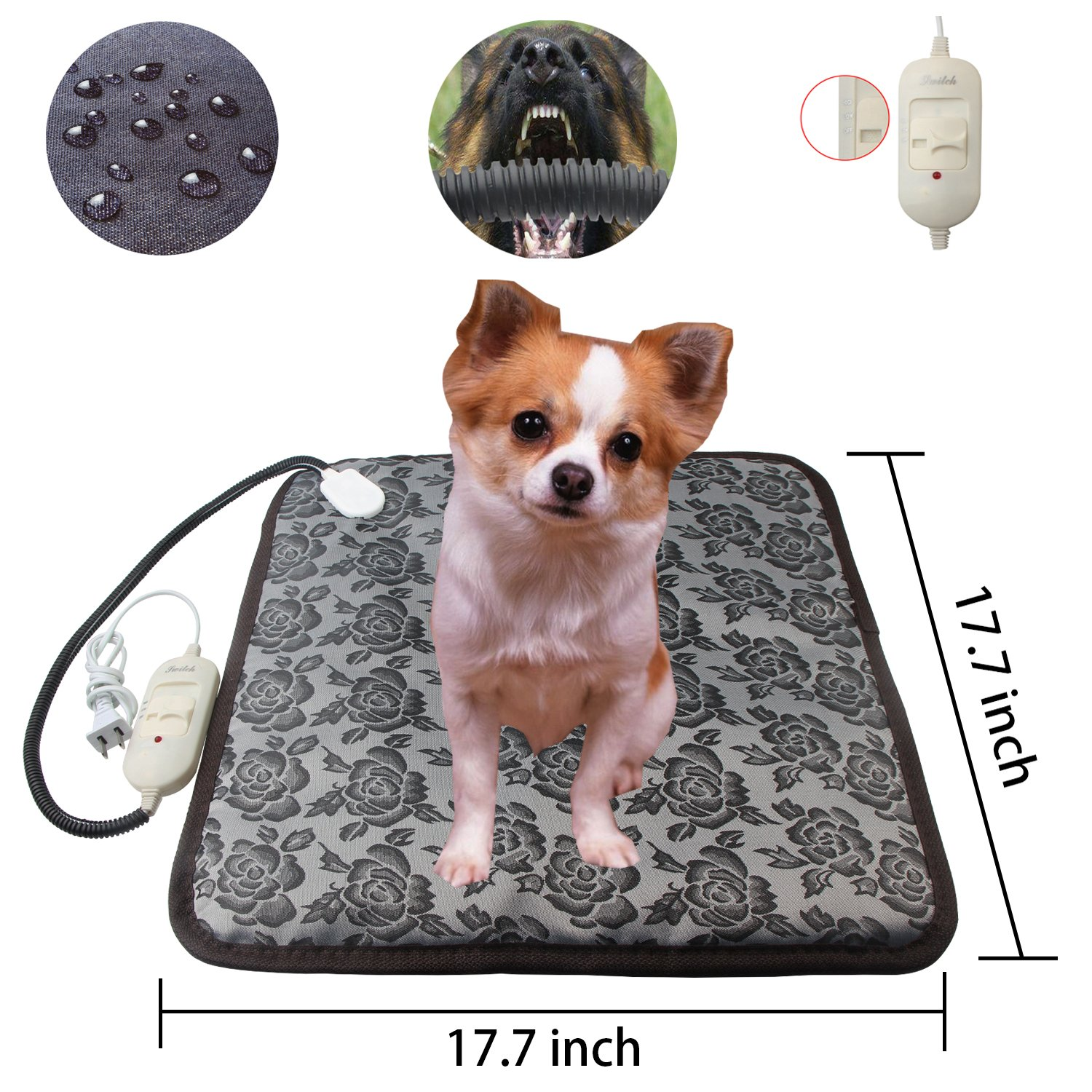 COVOART Waterproof Pet Heating Pad,Electric Adjustable Warming Dog Cat Heating Mat with Chew Resistant Steel Cord and Power-Off Protection 17.7''x17.7'' by COVOART (Image #2)