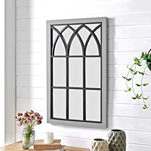 FirsTime & Co. Gray Grandview Arched Farmhouse Window Mirror, American Designed, Gray, 24 x 2 x 37.5 inches