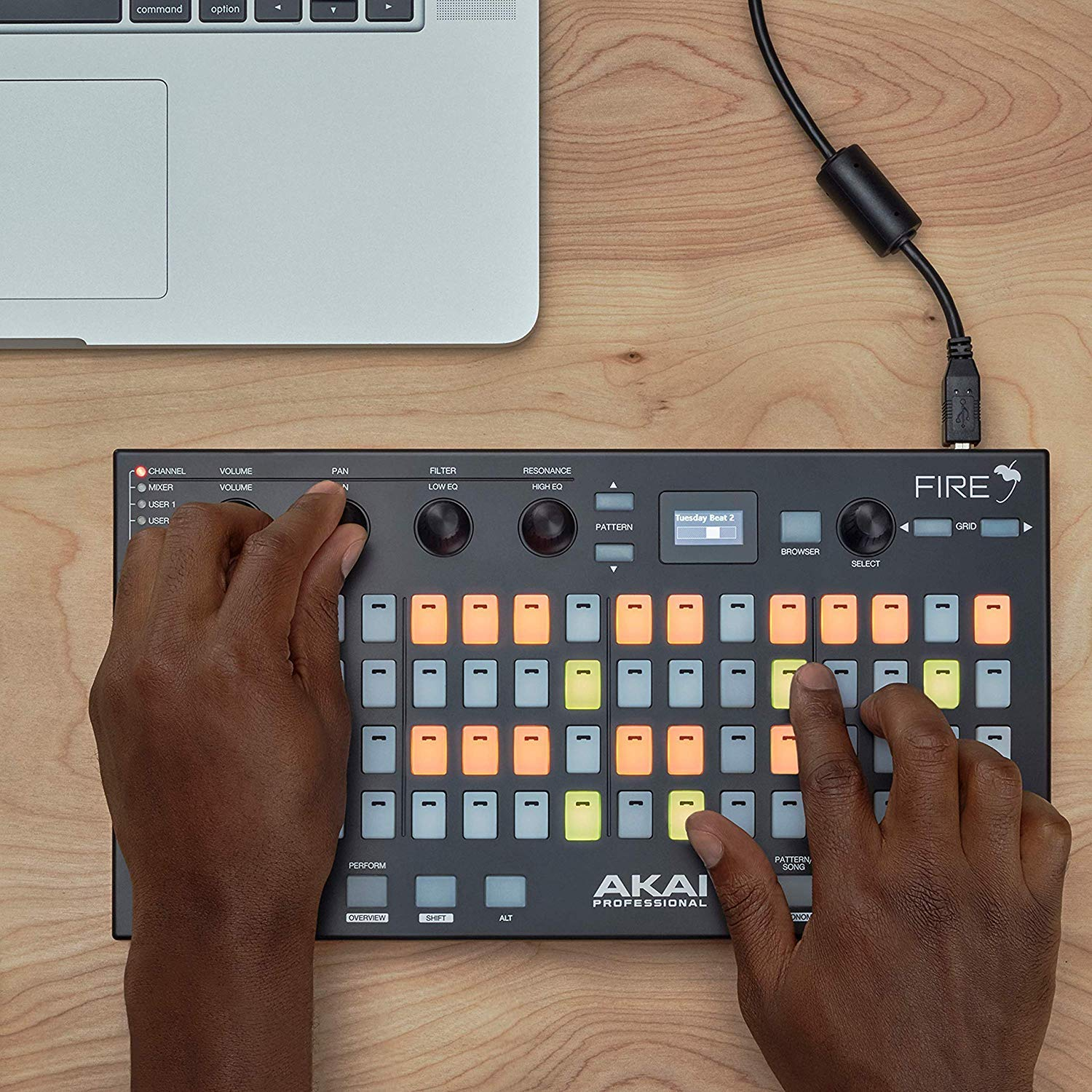 Akai Professional Fire | Performance Controller for FL Studio With 4 x 16 Velocity-Sensitive RGB Clip Matrix, OLED Display and FL Studio Fruity Fire Edition Included by Akai Professional (Image #2)