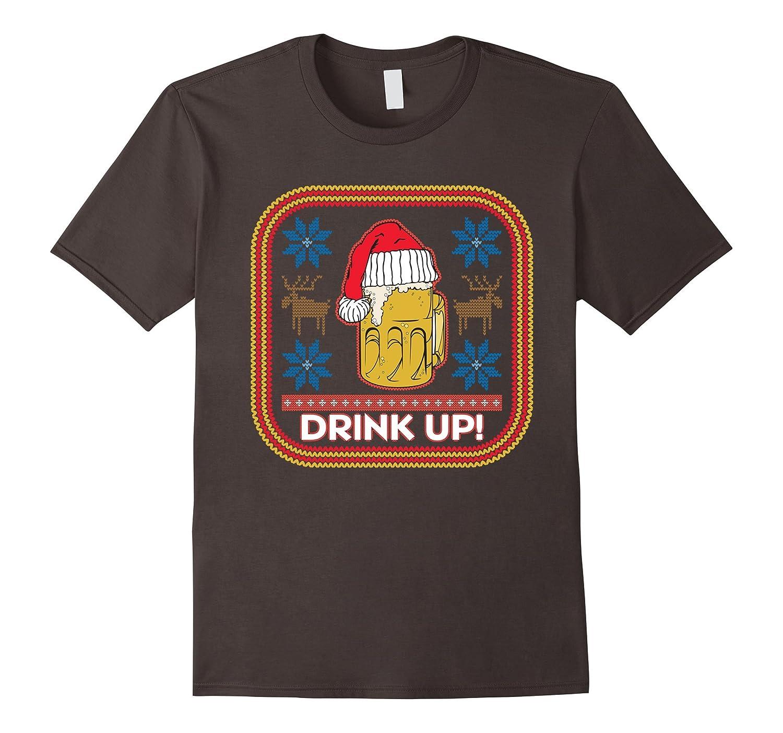Drink Up Beer Mug Santa Hat T-shirt