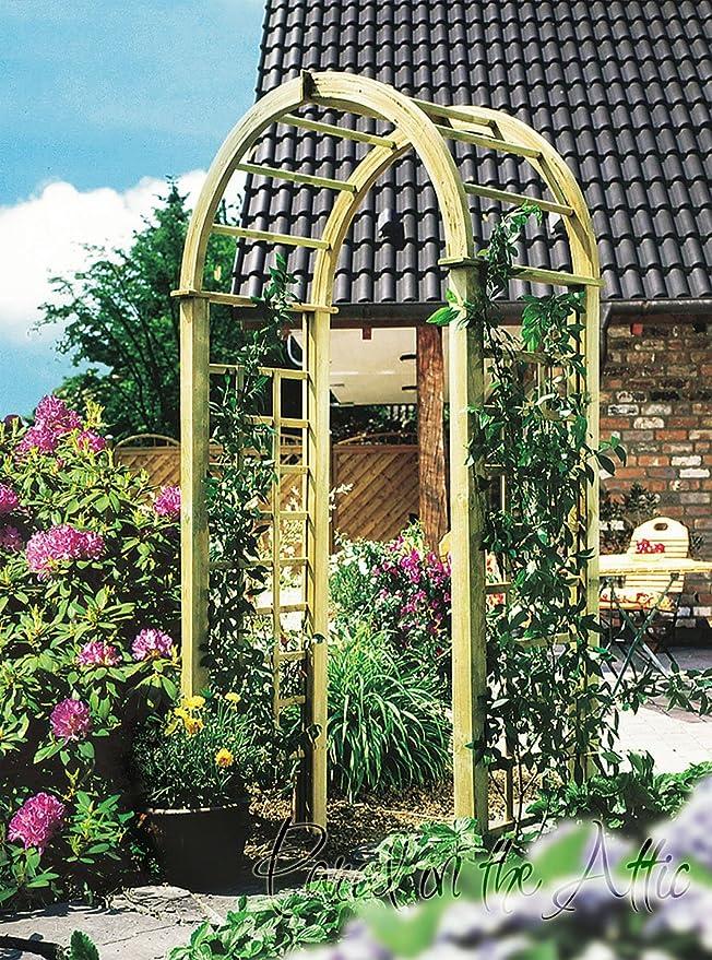 Curvado con enrejado jardín arco de madera superior lados - tratado contra la putrefacción (Ref. Katja): Amazon.es: Jardín