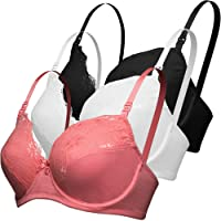 Curve Muse Plus Size Nursing Underwire Bra With Drop-Down Cups (Pack of 3)