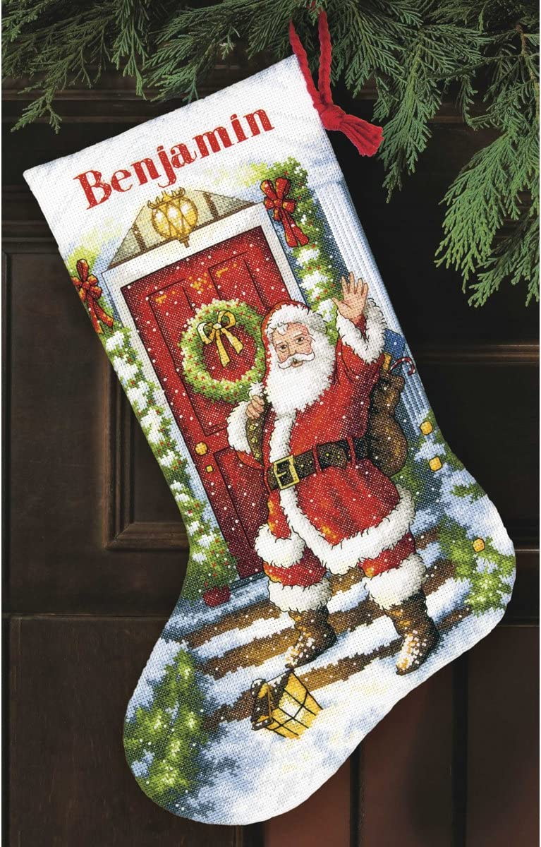 Gold Collection Welcome Santa Stocking Counted Cross Stitch 16 Long 14 Count