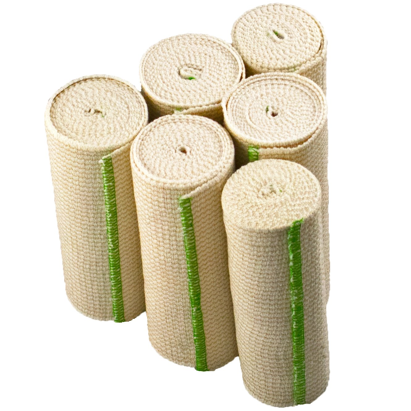 NexSkin Elastic Compression Wrap (6'' Wide, 6 Pack) with Hook and Loop Fasteners at Both Ends   Stretch Cotton Athletic Bandage Roll   Support & First Aid for Sports, Medical, and Injury Recovery by NexSkin