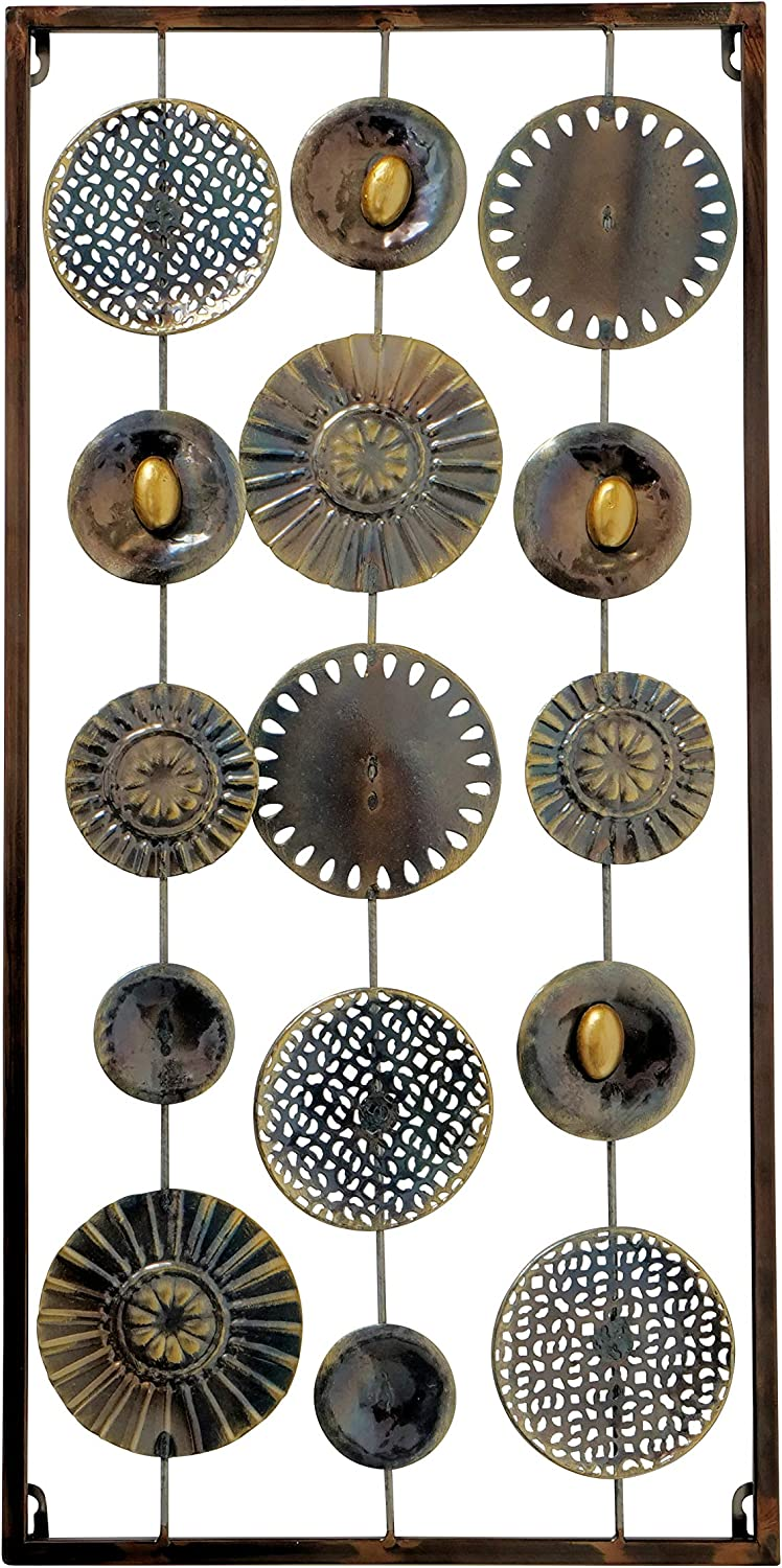 WHW Whole House Worlds Modernist Wall Art, Abstract Floating Patterned Shapes, Rectangle Frame, Metal, Artisan Crafted, Rustic Gray, Bronze, Gold and Silver Painted Iron, 2 Ft Long, Plaque