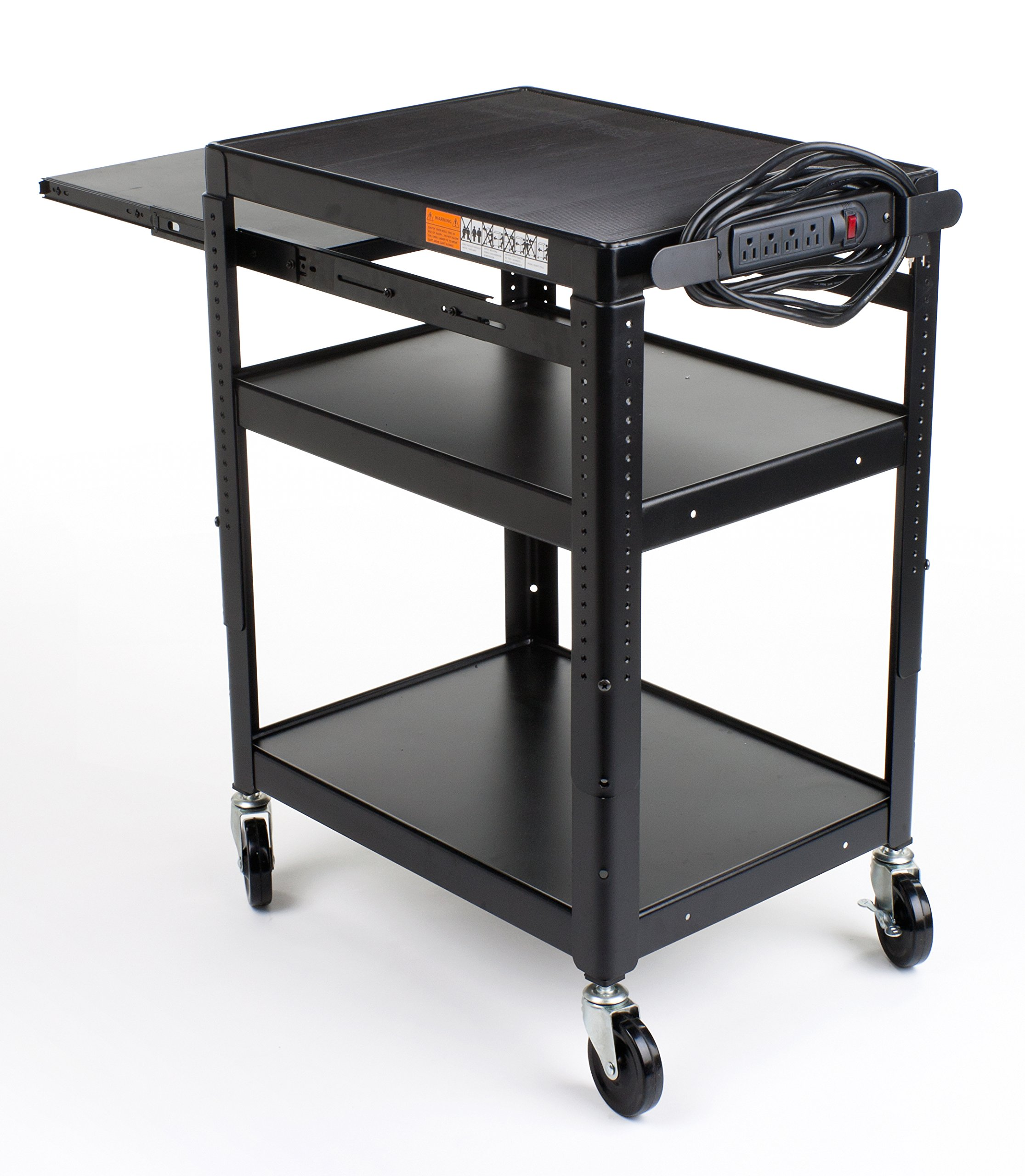 Displays2go Media Cart with Extendable Tray, Height-Adjustable Shelf, Anti-Slip Pad, 4 Wheels, 4 Outlet Surge Protector, 23 x 43 x 17 Inches, Black Powder-Coated Steel (LMC3S1PB2) by Displays2go