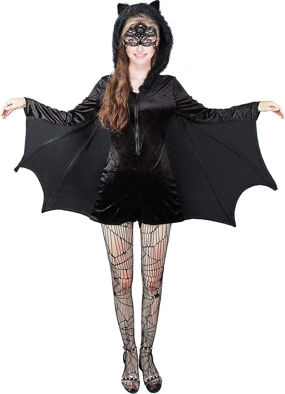 3 Piezas Vestido de Cremallera de Murciélago Negro de Mujer de ...