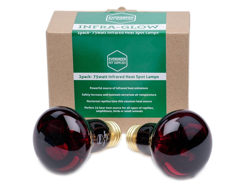 Amazon.com : Evergreen Pet Supplies 2 Pack Of 75 Watt Infrared Heat Lamp/Light/Bulb  For Reptile And Amphibian Use : Pet Supplies