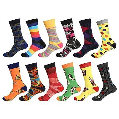12 Pairs Men Dress Socks (Wild Pack) W936G at Amazon Men's Clothing store