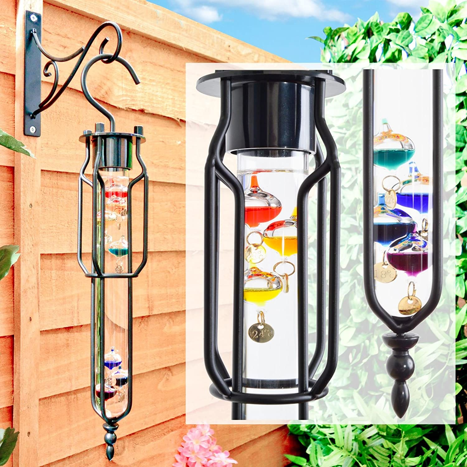 Colourful Hanging Galileo Thermometer For Garden / Home - 7 Globes 16-28C Range Great Ideas By Post