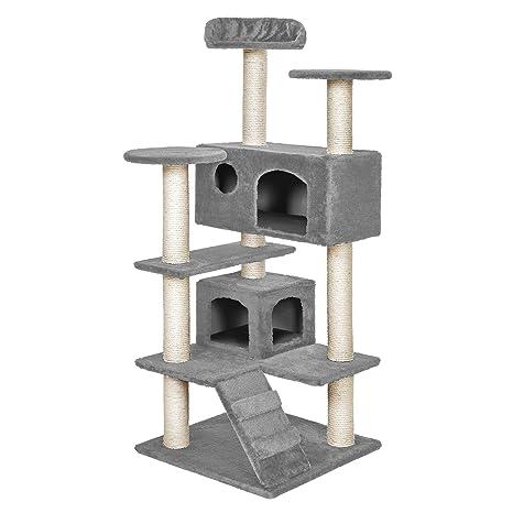 TecTake Rascador para Gatos Árbol para Gatos Trepar Sisal Juguetes (Gris | no. 400574