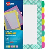 Avery Ultralast Big Tab Plastic Dividers, 8 Tabs, 1 Set, Assorted Designs (24903)