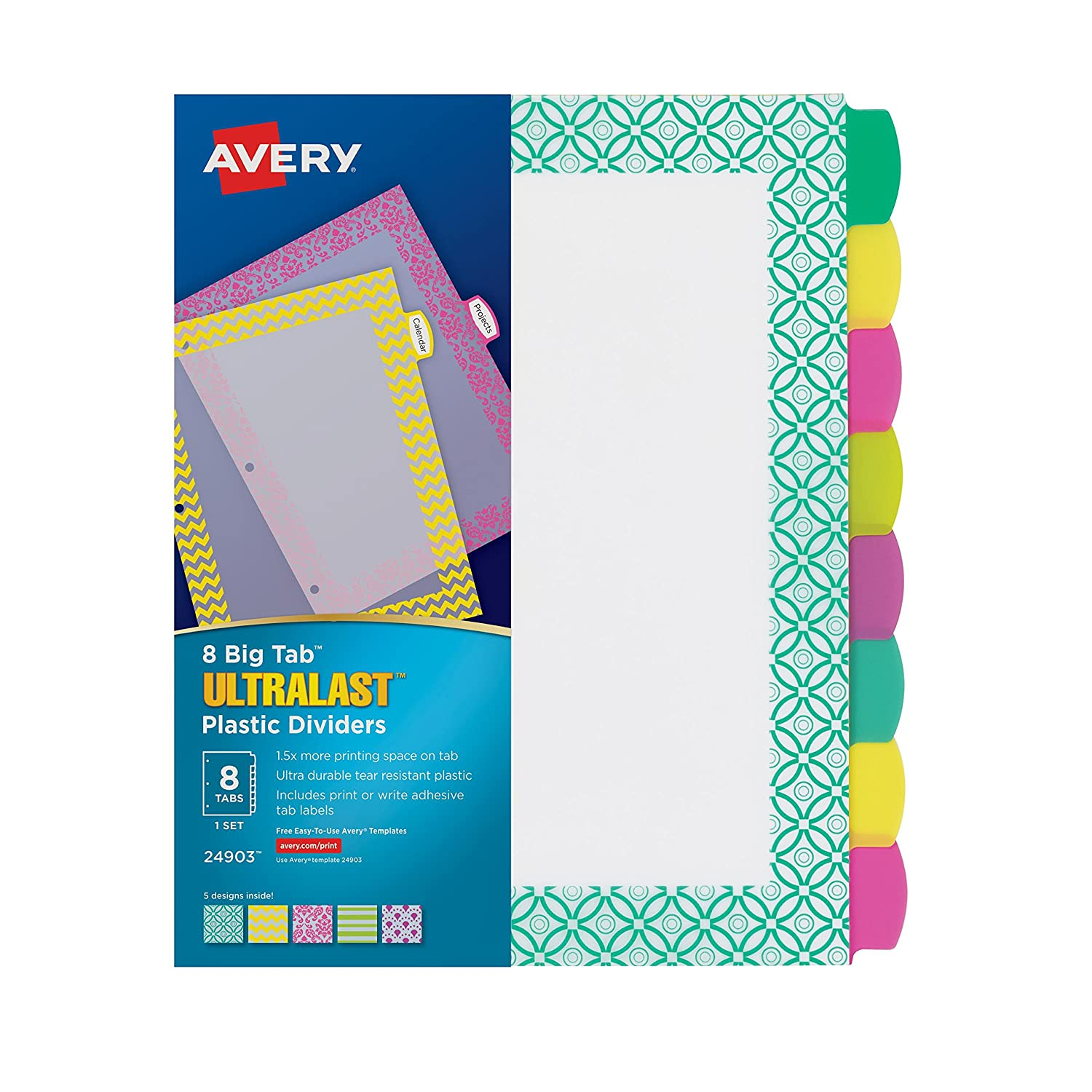 Avery Ultralast Big Tab Plastic Dividers, 8 Tabs, 1 Set, Assorted Designs (24903) Avery Products Corporation