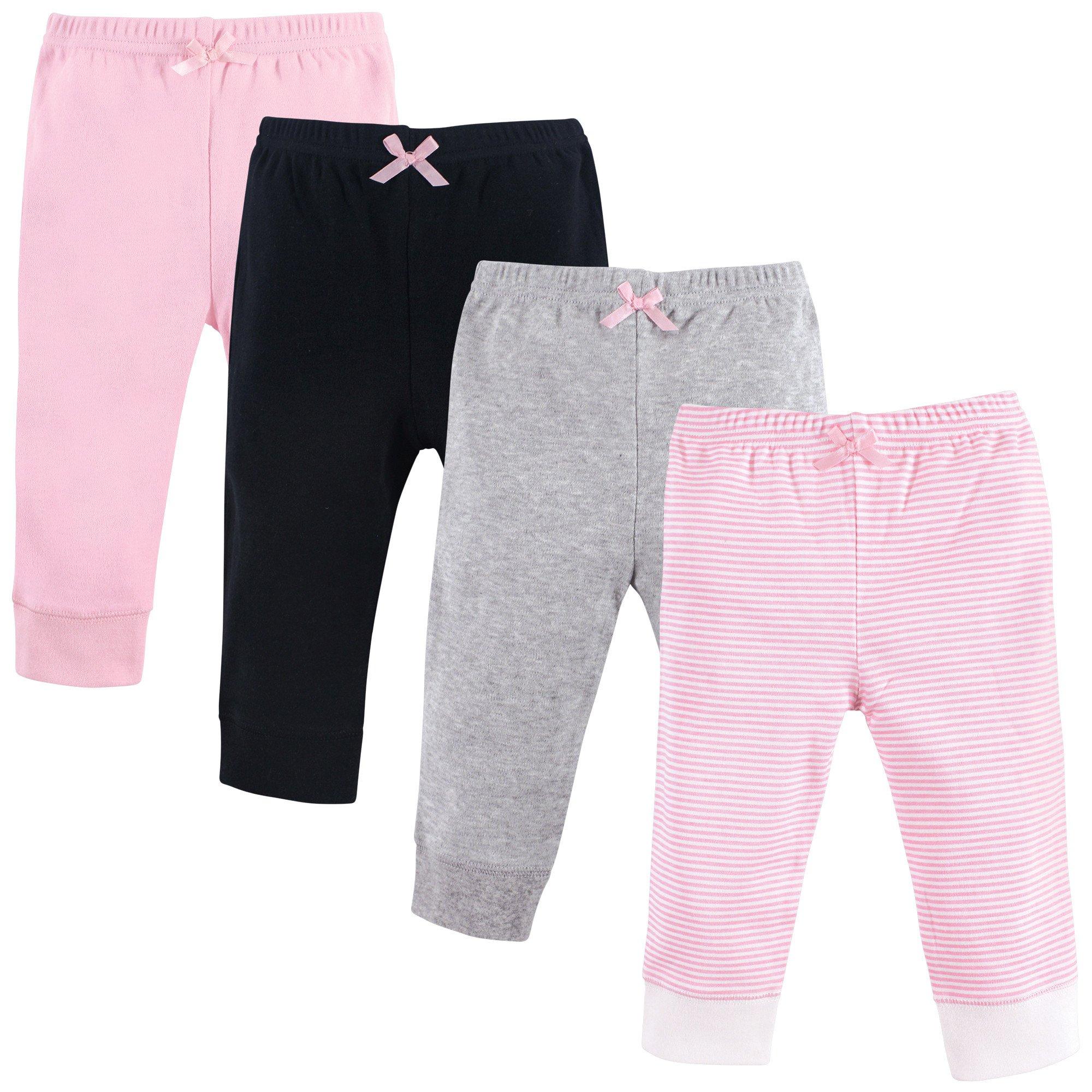 Luvable Friends Baby Cotton Pants, Lt. Pink Stripe 4-Pack, 9-12 Months (12M) by Luvable Friends