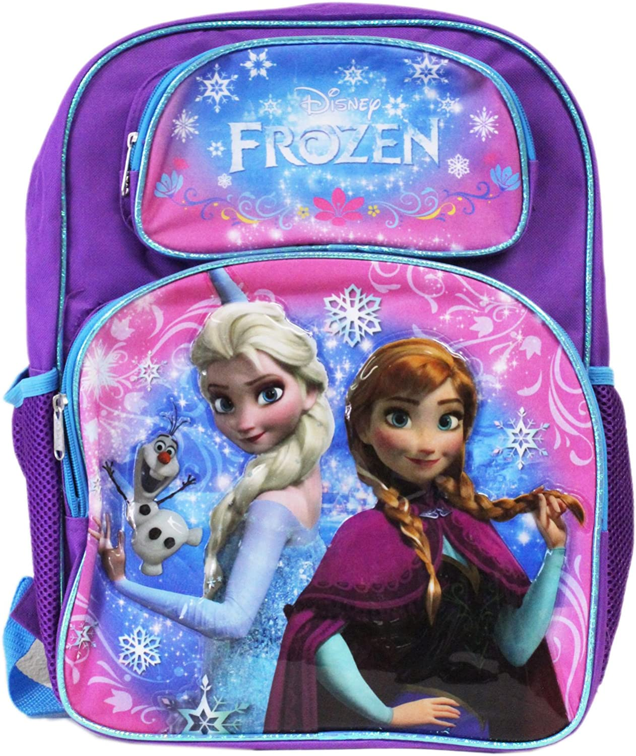 "Disney Frozen 16/"" Large Blue Backpack Elsa Anna Licensed School Bag NWT FRON"