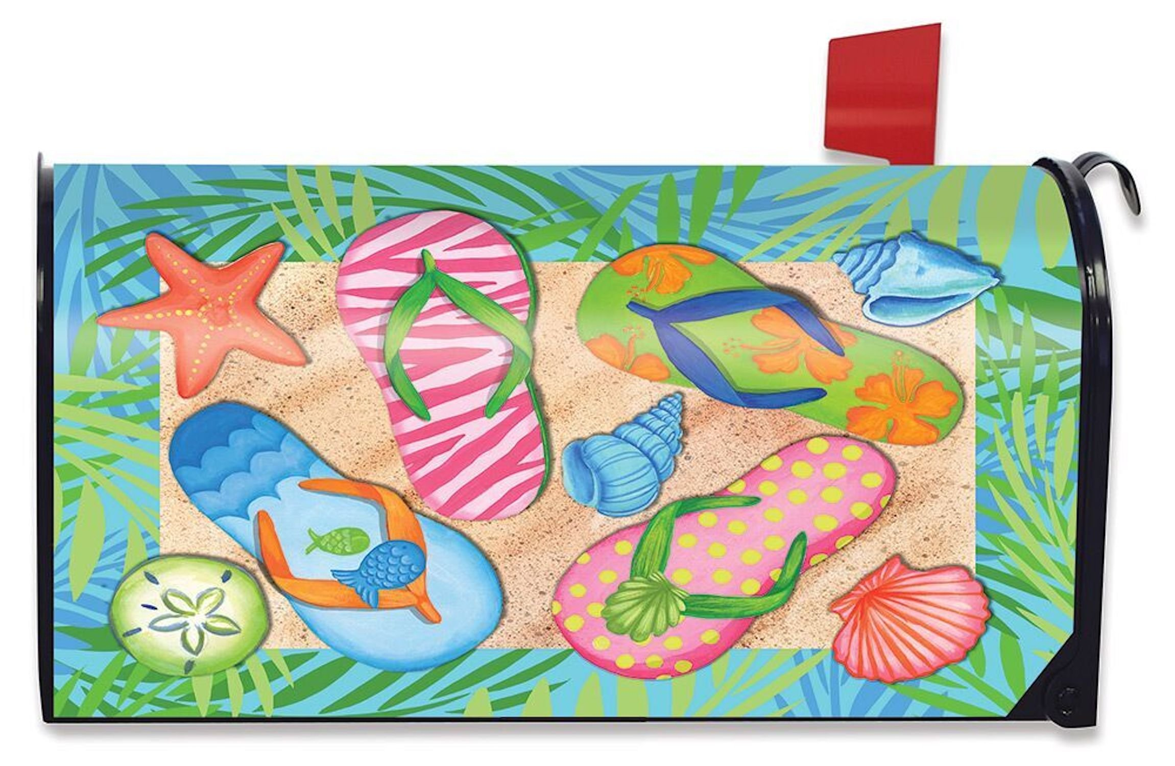 Briarwood Lane Tropical Flip Flops Summer Mailbox Cover Palm Trees Sand Shells