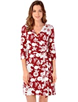 Grapent Women's True Wrap 3D Blue and White Floral Knee Length Dress Formal Work