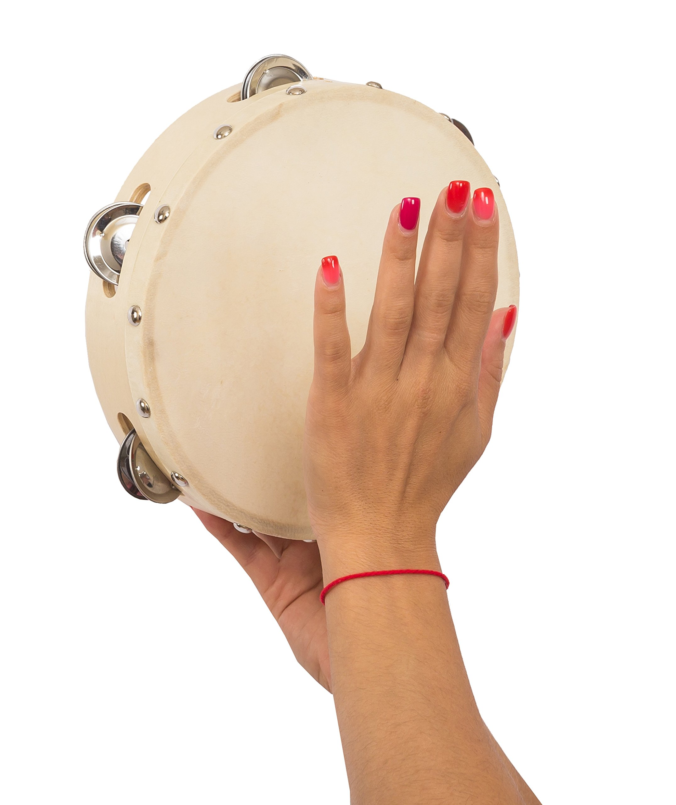 Hand Held Tambourine 8 inch - Tamburine Drum with Metal Jingles - Percussion for Church, Kids, Adults