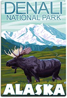 product image for Lantern Press Denali National Park, Alaska, Moose Scene (12x18 Aluminum Wall Sign, Wall Decor Ready to Hang)
