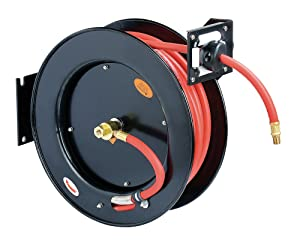 """ReelWorks L815153HA Steel Retractable Air Compressor/Water Hose Reel with 3/8"""" x 50' Hybrid Polymer Hose, Max. 300 psi"""