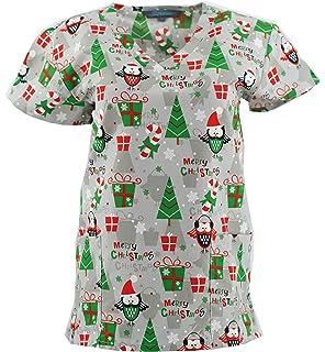 319d941428e Christmas Scrub Tops Holiday Prints Sizes XS-4XL Medical Nursing NWT