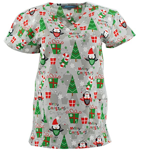 bfb15a02c30 Christmas Scrub Tops Holiday Prints Sizes XS-4XL Medical Nursing NWT (3X,  Cold