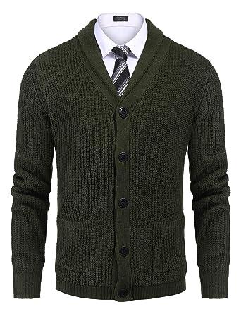 COOFANDY Herren Strickjacke Cardigan Pullover Jacke Schalkragen Slim Fit Schwarz Feinstrick Mit V Ausschnitt Und Knopfleiste Herbst und Winter