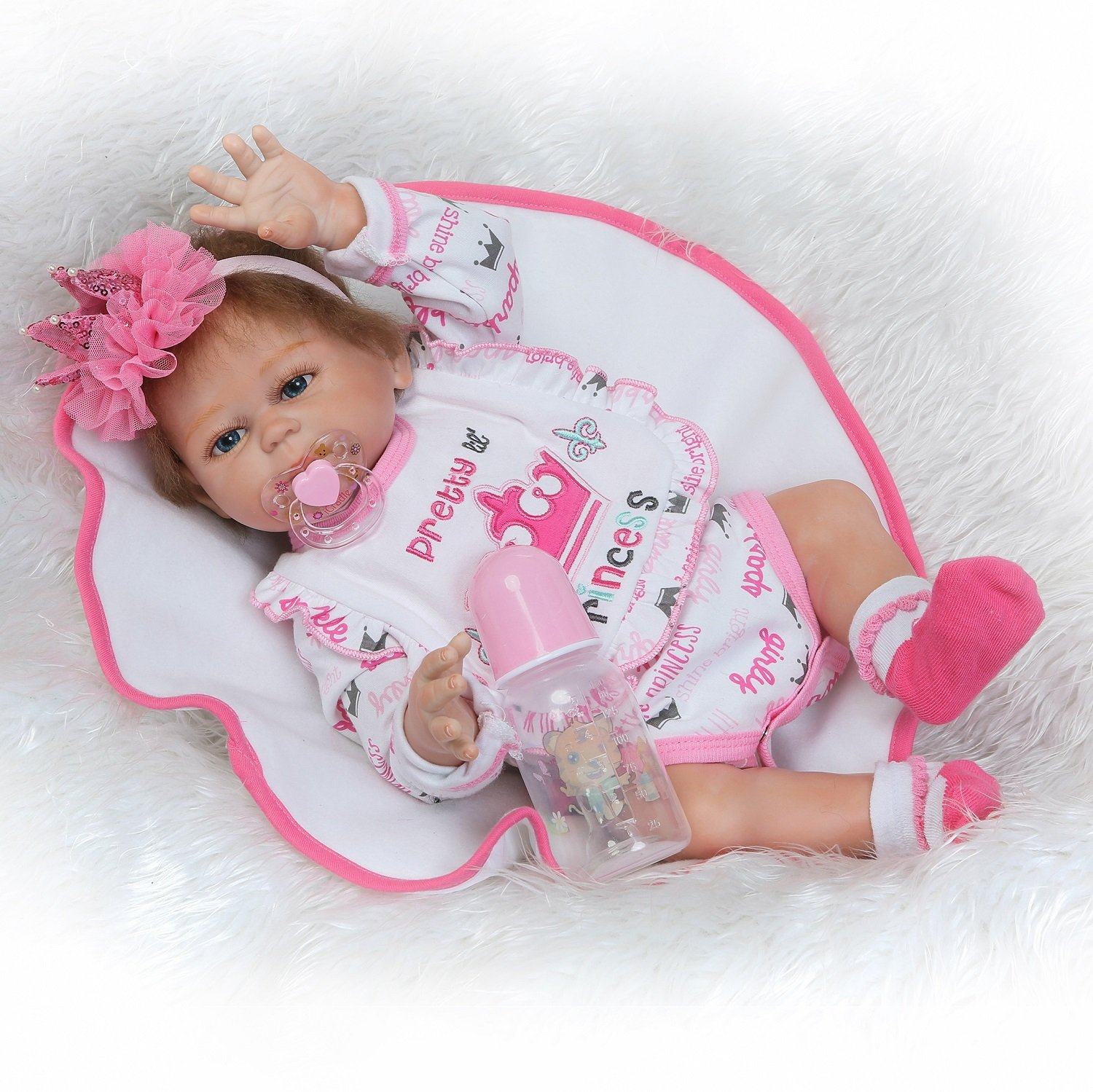 NPK Reborn Doll Real Life Full Body Silicone Vinyl Anatomically Correct Reborn Baby Doll 20inch 50cm Weighted Baby Pink Girl Doll   B07BF7194X