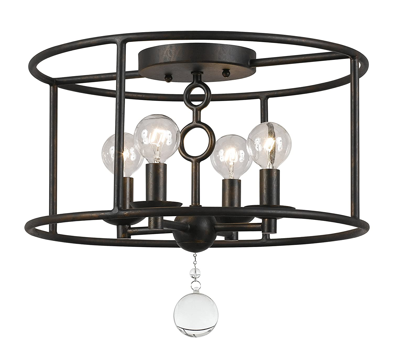 Crystorama 9267-EB Crystal Accents Four Light Ceiling Mounts from Cameron collection in Bronze/Darkfinish,