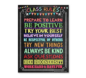 Classroom Rules Poster (Laminated 18X24) Motivational Poster Ideal for High  School Classroom, Middle School Classroom or Elementary Classroom