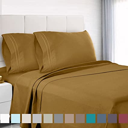 Amazon.com: Empyrean Bedding Premium Twin XL Sheets Set   Camel