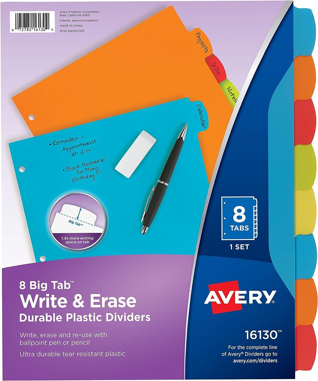 Avery Big Tab Write & Erase Durable Plastic Dividers, 8 Multicolor Tabs, 1 Set (16130)