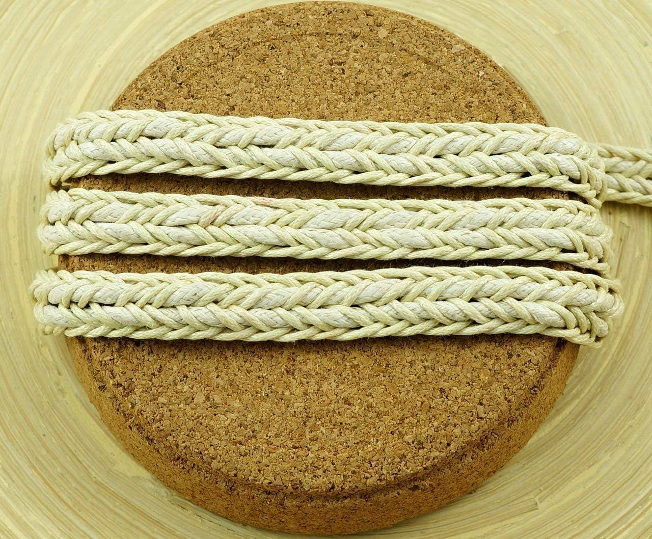 1M 3.3 Ft 1.1 Yds Marrón Beige Algodón Encerado Cordón Decorativo Abalorios de Cadena Trenzada de la Cuerda de Trenzado Pulsera de Cinta de Ancho Cordel Vegana 10mm: Amazon.es: Hogar