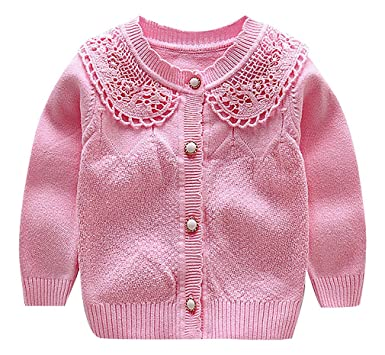 84f6572018ad Amazon.com  BPrincess Baby Girl Solid Color Mixed Knit Lace Collar O ...
