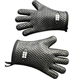 Heat Resistant BBQ Cooking Gloves - Oven Mitts By SBDW. Insulated Silicone With Protective Lining. Versatile & Waterproof For BBQ Grill, Deep Fry, Fire Pit, Campfire & Meat Smoking - 3 Colors (Black)